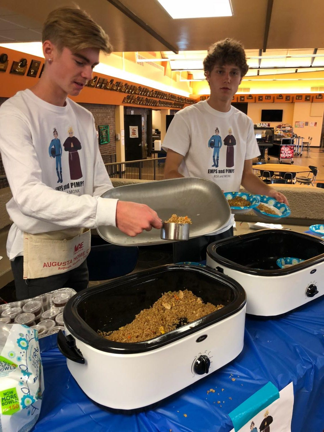 Jake Tucker (12) and Cade Zerr (12) served Fried rice on Market Day. Their booth was called Emps & Pimps.