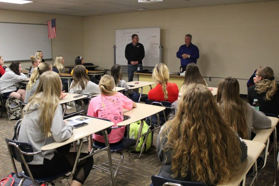 Girls interested in playing soccer attend a meeting discussing the season. New head coach Matt Childers led the meeting and told the girls tryouts were scheduled for Feb. 25 and 26.