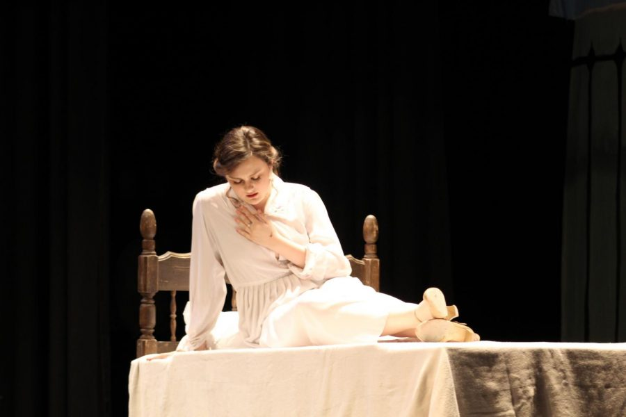 Samantha Dudeck (11) plays as Virginia in the play. Halfway through Act I, Virginia struggled to stay alive.