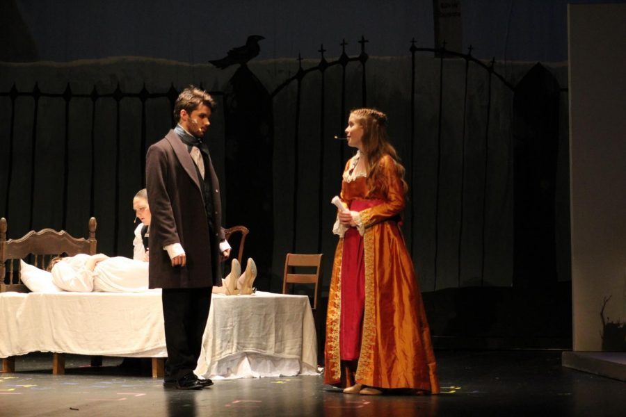 Ariana Ramsyer (9) plays as Fanny in the Tell Tale play. Shes comforting Edgar Allen Poe, played by Noah Rye (10) about the party.