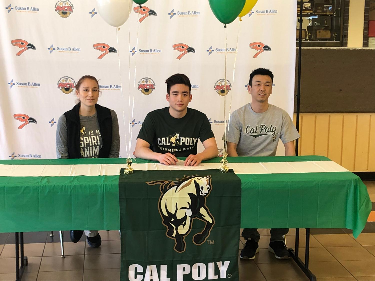Noah Otuska (12) poses for a photo in late March after signing his letter of intent with California Polytechnic State University. Otsuka will attend Cal Poly in the fall of 2019.