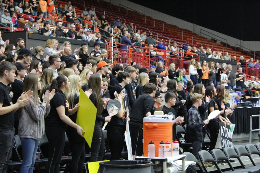 Students in the O's Zone cheer during the Chapman game. The boys beat Chapman 46-40.