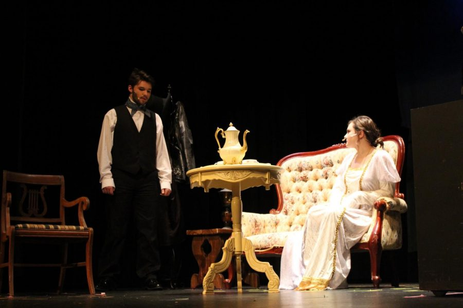 Young Poe, played by Noah Rye (10) and Virginia, played by Samantha Dudeck (11) are arguing about Virginia not noticing Poe loved her.