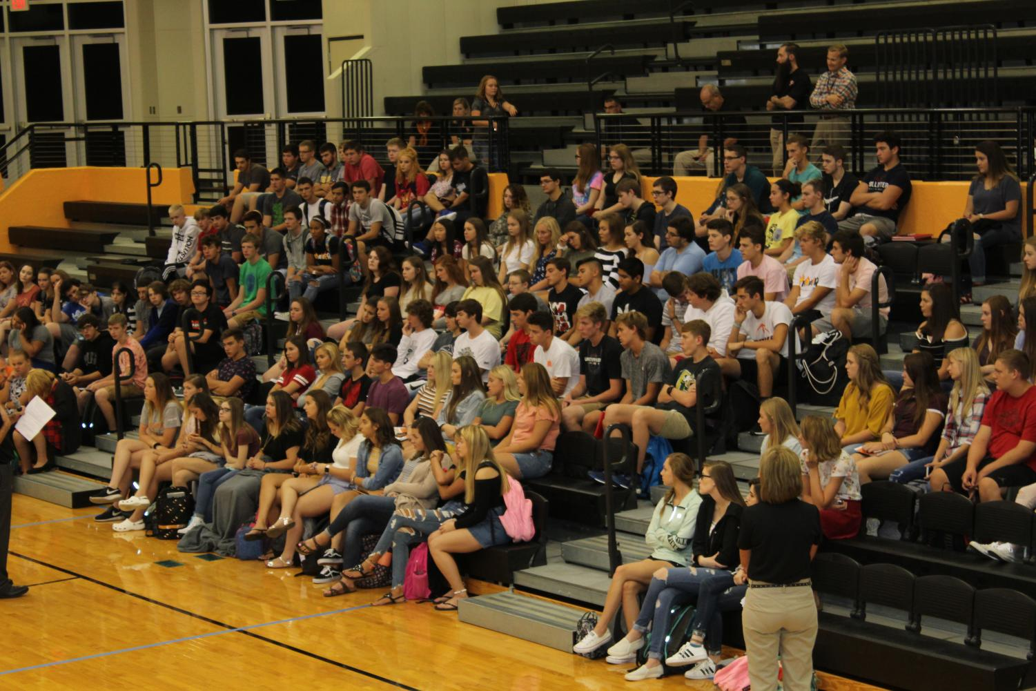 Junior class gathers for orientation on the first day of the 2018-19 school year. Principal, Donna Zerr and assistant principal, Ryan Muhlig refresh the rules and expectations of the high school.
