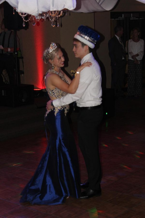 Bailey Pennycuff (12) and Noah Otsuka (12) slow dance after being crowned Prom King and Queen. Voting for king and queen took place in class days before prom.