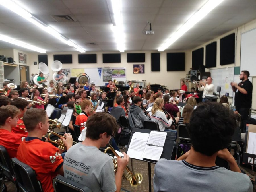 The AHS band practicing this morning, September 13. They were going over pep band songs for our first game tonight!