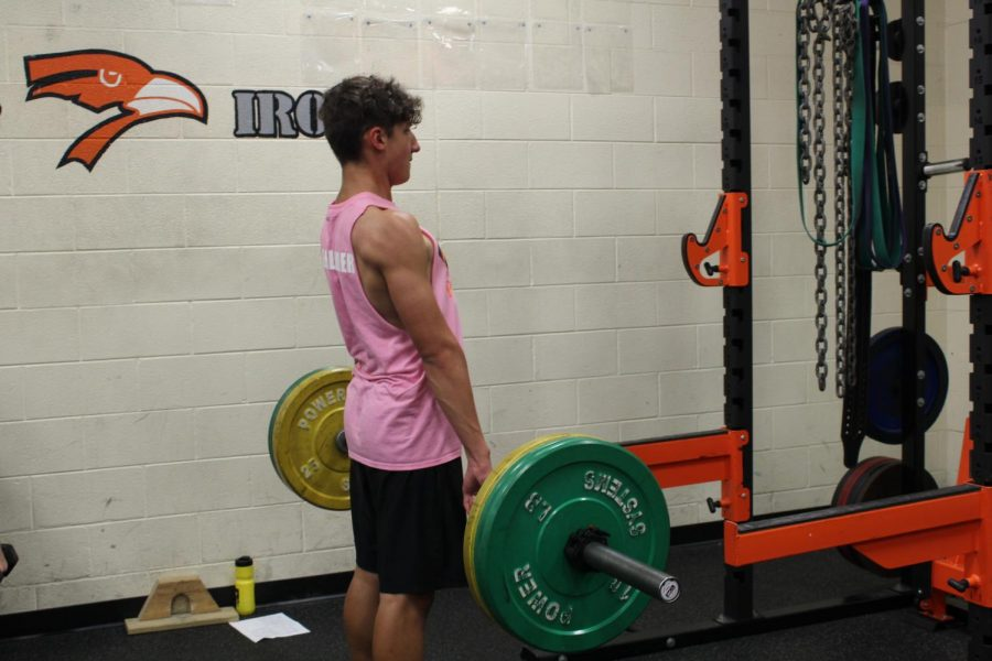 Junior Cody Cundell in weights as he is doing deadlift with the rest of his class.