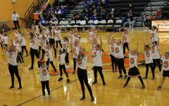 "Dancers performed their routine at halftime of the boys varsity game Jan. 17. One song they danced to was Lady Gaga ""Paparazzi""."