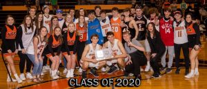 Members of the class of 2020 celebrate the boys basketball sub-state victory over the Mulvane Wildcats. This might be the last photo that this class takes together.