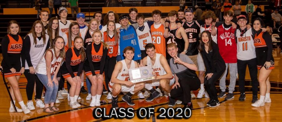 Members+of+the+class+of+2020+celebrate+the+boys+basketball+sub-state+victory+over+the+Mulvane+Wildcats.+This+might+be+the+last+photo+that+this+class+takes+together.+%0A