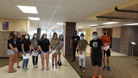 Friends of Freshman leaders, juniors Holt Williams and Sawyer Schmidt, show a group of freshmen around the school to give them an idea of where their classes will be. The tours were given Aug. 26 from 9 a.m. through 2 p.m.