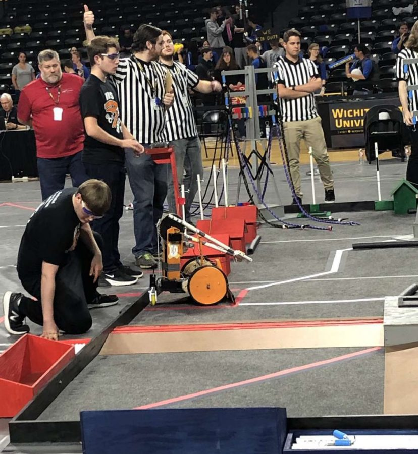 During+the+B.E.S.T.+Robotics+regionals+at+Wichita+State+University%2C+senior+Forrest+Tuschhoff+drives+the+teams+robot.+The+team+placed+second+which+allowed+them+to+travel+to+Denver%2C+Colorado+for+Nationals.+