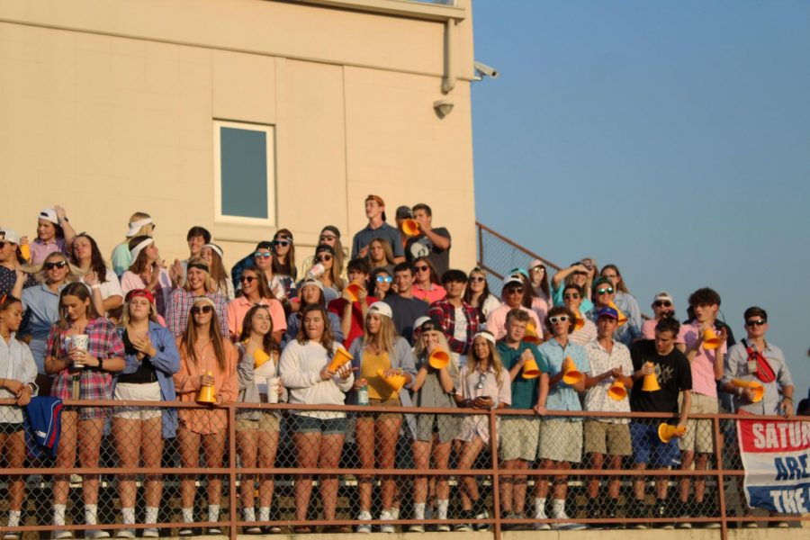 The student section last year at the first football game against Andover Central. Now, students must have vouchers in order to watch a home game in person due to COVID-19.