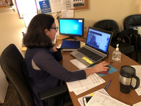 Counselor Audrey Neuchafer participates in a Zoom meeting with quarantine students in her office at 10:00 a.m. Students will join if they have any questions and to check in.