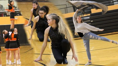 Members of the cheer team, dance team and colorguard perform their routines for basketball season. Each team practiced several times a week to prepare.