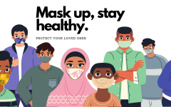 "The term ""mask up, stay healthy"" in the image above, is a statement that principle Rick Rivera says every morning at the end of announcements. A little reminder to wear your masks correctly to keep yourself and people around you safe."