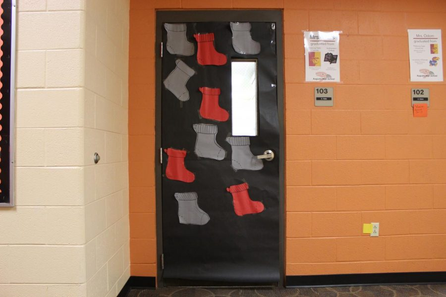 Special education teacher Deana Walls' CAPPS students decorated her classroom door last wednesday. Each CAPPS class was responsible for their own door though some were not able to finish or start decorating.
