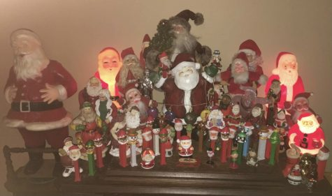 Junior Tommie Schaffner has a Santa collection in her family room along with Christmas themed PEZ candy containers. Schaffner's family puts all their effort into the inside of the house, as they do not decorate the outside.