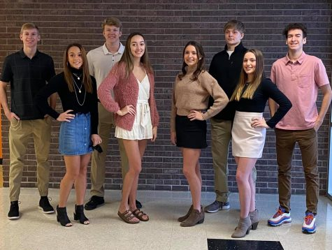 Homecoming candidates seniors Brendan Parker, Maycee Anderson, Ely Wilcox, Carissa Matson, Hallie Johnson, Jacob Money, Brittney Foy and Xander Roberts stand for a picture together. The homecoming coronation will take place this Friday, Feb. 19 in Hutter Gym at 5:45 p.m..
