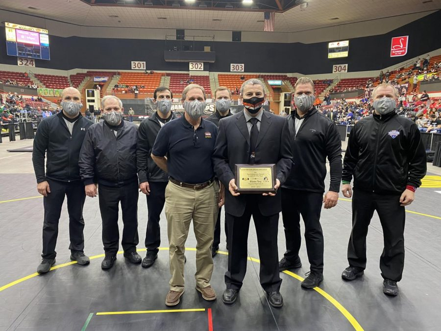 Coach Brandon Terry was awarded the 4A sportsmanship award at the state wrestling tournament. The officials gave him this Sunday Feb. 28.