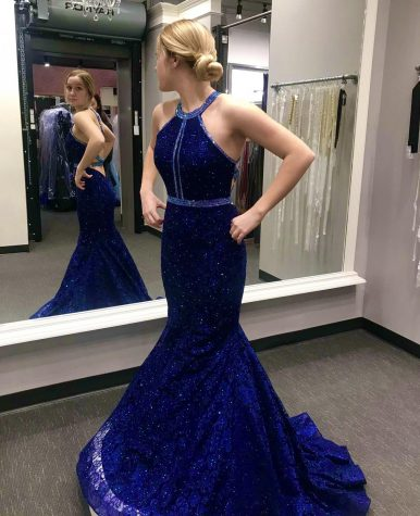 Senior Taylor Braungardt finds her prom dress while shopping at Dress Gallery. Prom will take place at the Point Events Center April 24, walk-ins begin at 8:30 p.m.