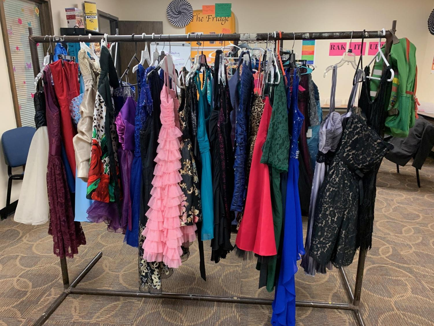 A sample of a few of the prom dresses offered for the girls to wear.