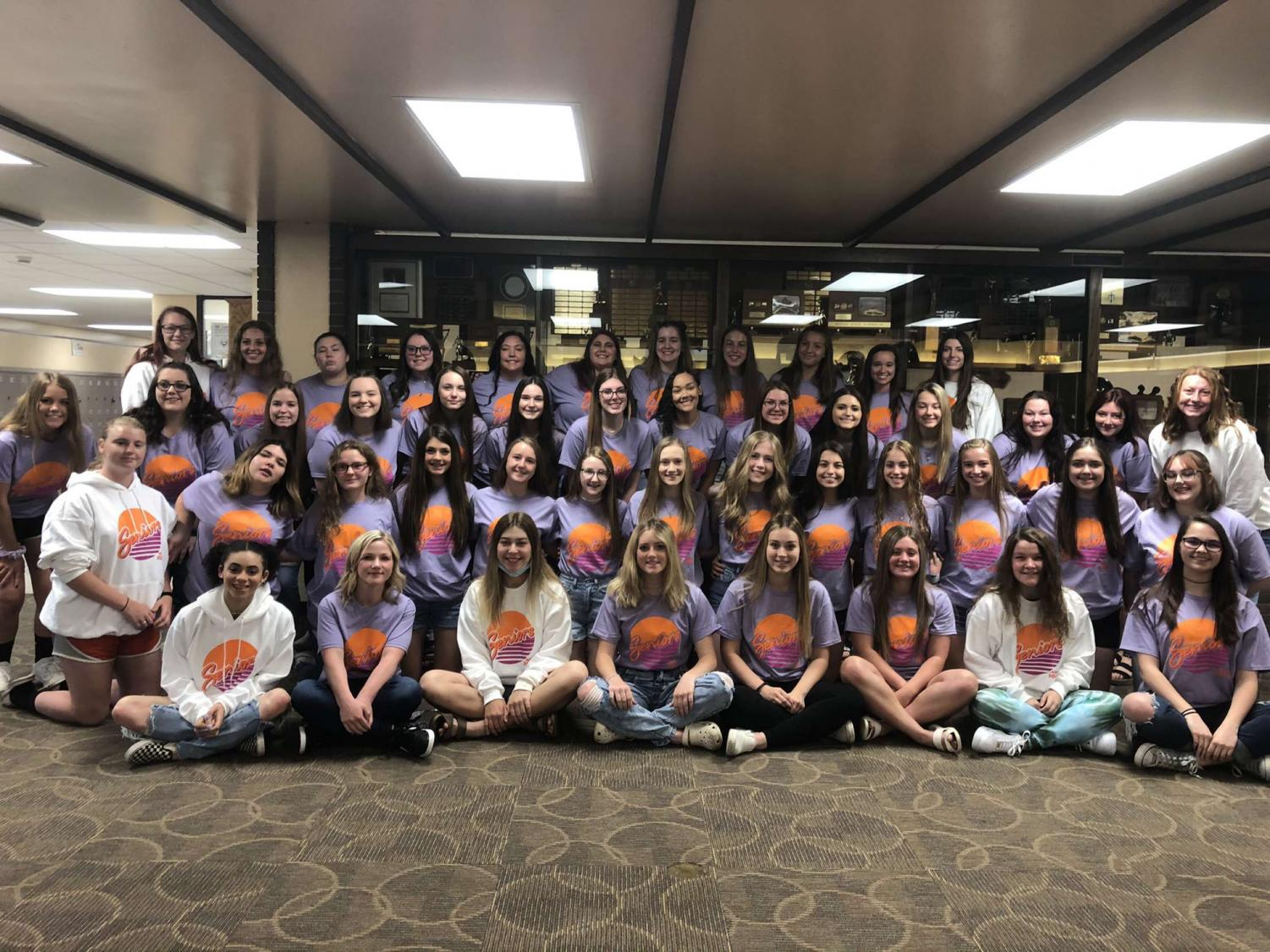 The upcoming senior girls wore their shirts on the last day of their junior year. After the shirts were delayed twice, they were finally delivered the day before the girls wore them.