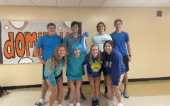 The homecoming candidates dress up for the second day of Spirit Week: Mission Control Day. Each candidate wore blue to show their senior status.
