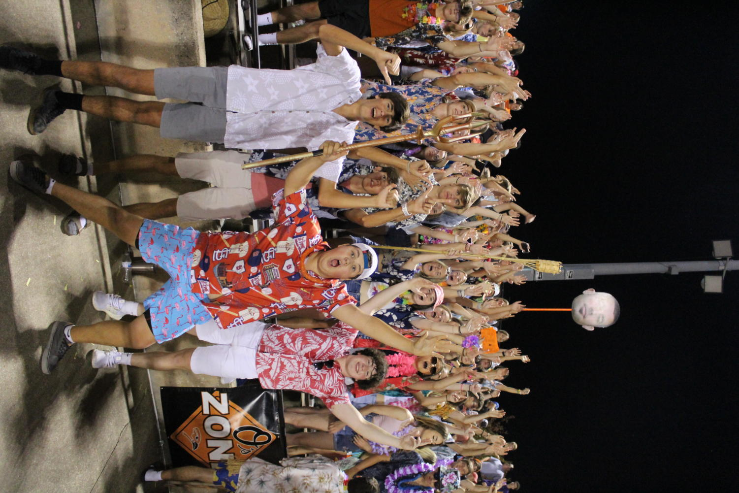 The Os Zone cheer on the football team at the rivalry game against Circle. The seniors stood in the front jumping around to get the underclassmen involved.