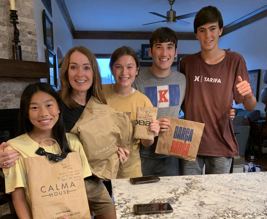 Foreign exchange student Ignacio Compte Duch is joined with his host family Holt Wiliams, Sadie Williams, Kristey Williams, and Halle Williams after traveling 4,968 miles from his hometown.